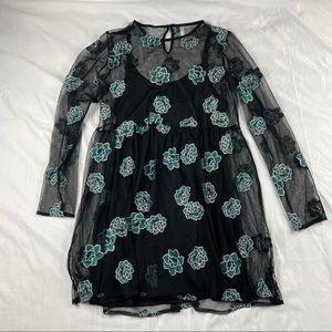 Black Mesh Succulent Floral Dress Large